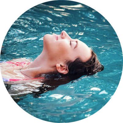 Woman floating and smiling