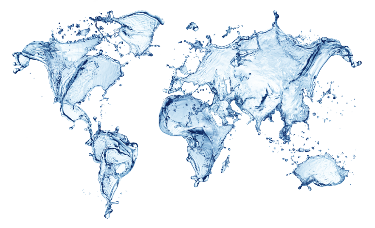 Save the world map water art