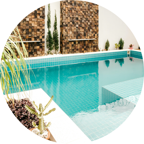 Safe water system pool with plant decor